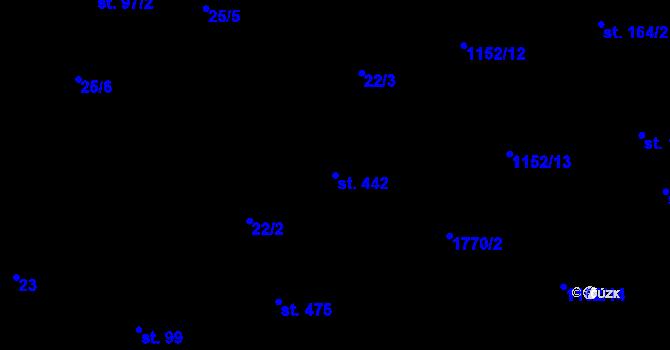 Parcela st. 442 v k.ú. Bratronice u Kladna, Katastrální mapa