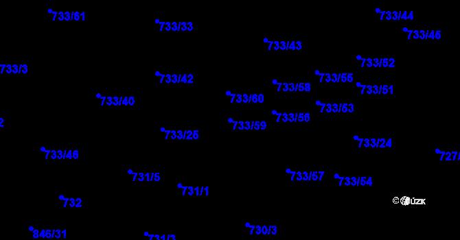 Parcela st. 733/59 v k.ú. Nový Lískovec, Katastrální mapa