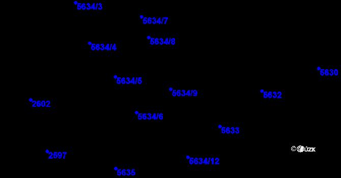 Parcela st. 5634/9 v k.ú. Žabovřesky, Katastrální mapa