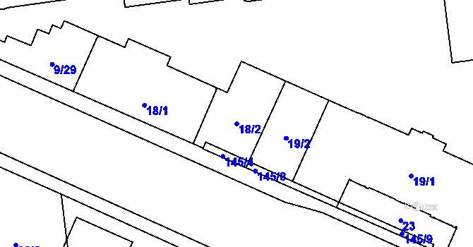 Parcela st. 18/2 v k.ú. Židenice, Katastrální mapa