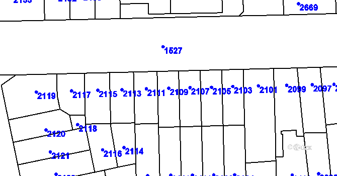 Parcela st. 2109 v k.ú. Židenice, Katastrální mapa