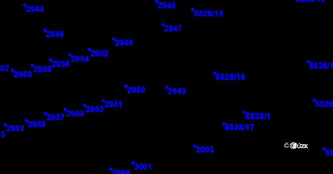 Parcela st. 2949 v k.ú. Židenice, Katastrální mapa