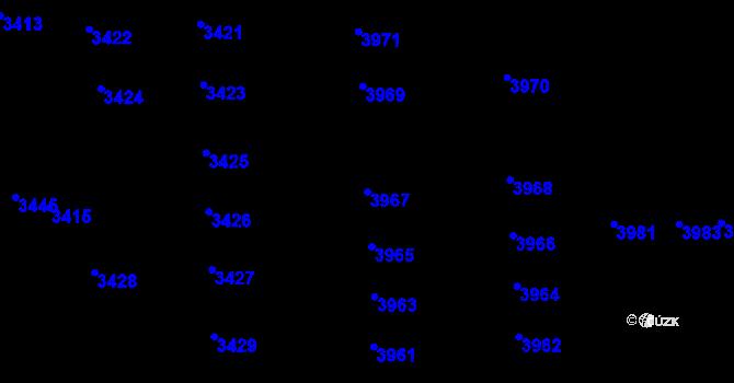 Parcela st. 3967 v k.ú. Židenice, Katastrální mapa