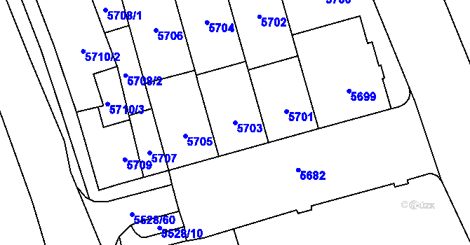 Parcela st. 5703 v k.ú. Židenice, Katastrální mapa