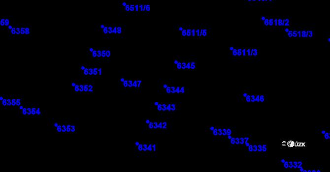 Parcela st. 6344 v k.ú. Židenice, Katastrální mapa
