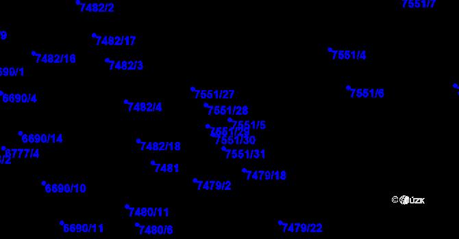 Parcela st. 7551/5 v k.ú. Židenice, Katastrální mapa