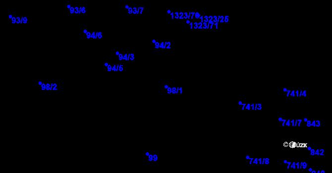 Parcela st. 98/1 v k.ú. Černovice, Katastrální mapa