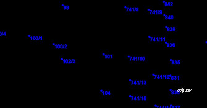 Parcela st. 101 v k.ú. Černovice, Katastrální mapa