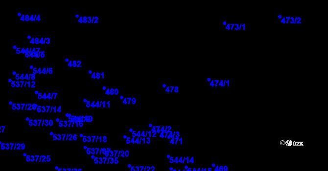 Parcela st. 478 v k.ú. Mokrá Hora, Katastrální mapa