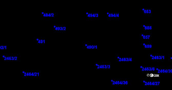 Parcela st. 490/1 v k.ú. Bohunice, Katastrální mapa