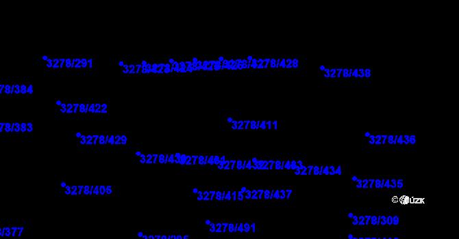 Parcela st. 3278/411 v k.ú. Líšeň, Katastrální mapa