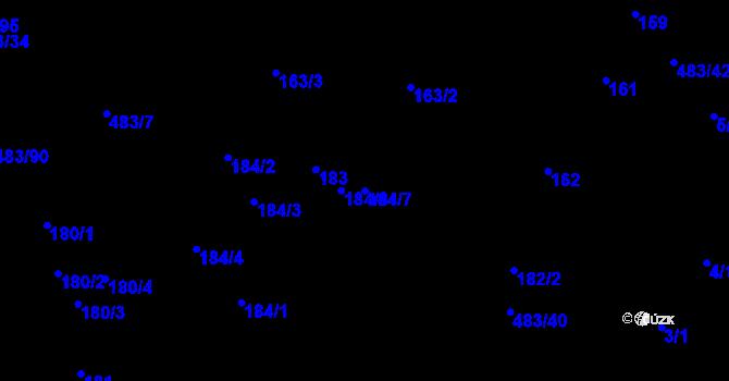 Parcela st. 184/7 v k.ú. Březno u Chomutova, Katastrální mapa