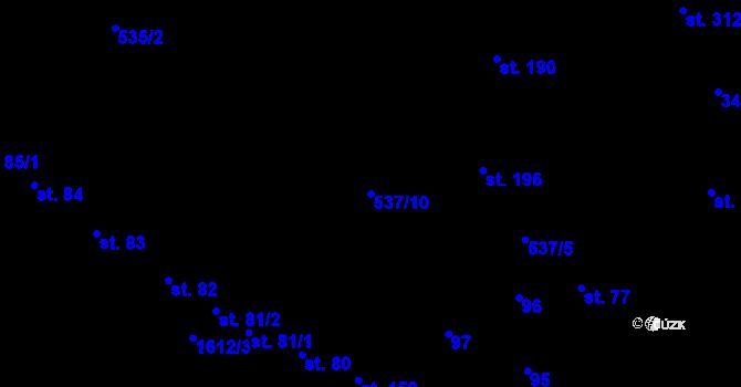 Parcela st. 537/10 v k.ú. Čechy pod Kosířem, Katastrální mapa