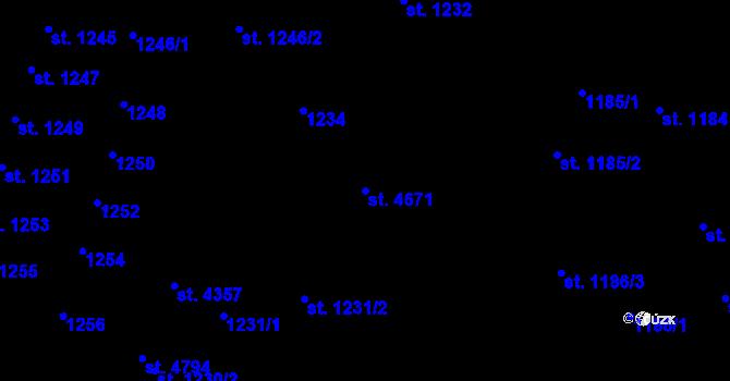 Parcela st. 4671 v k.ú. Čelákovice, Katastrální mapa