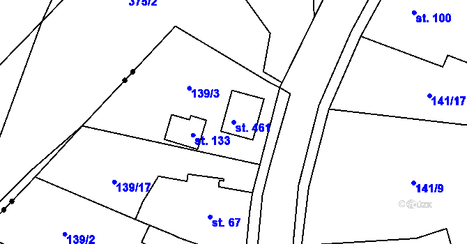 Parcela st. 461 v k.ú. Černá za Bory, Katastrální mapa