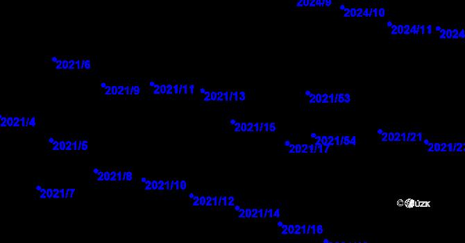 Parcela st. 2021/15 v k.ú. Česká Ves, Katastrální mapa