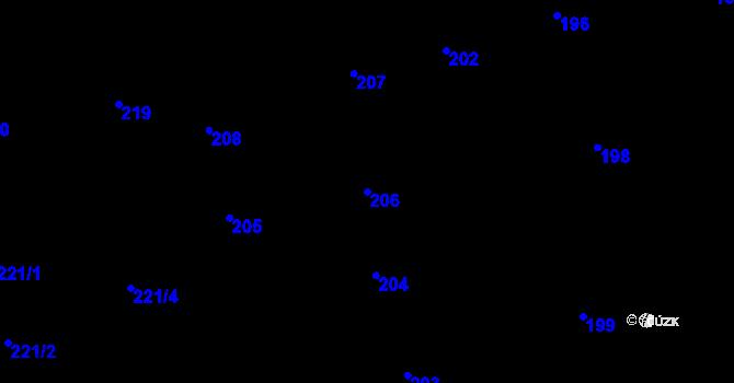 Parcela st. 206 v k.ú. České Budějovice 6, Katastrální mapa