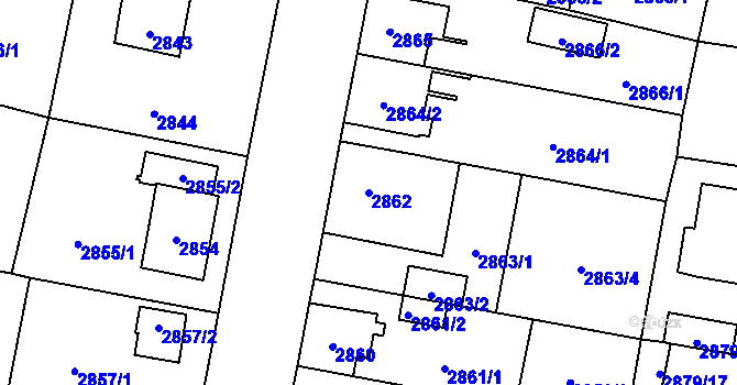 Parcela st. 2862 v k.ú. České Budějovice 7, Katastrální mapa