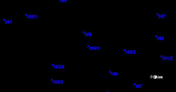 Parcela st. 190/1 v k.ú. Daskabát, Katastrální mapa