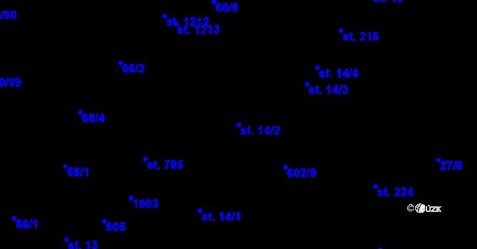 Parcela st. 14/2 v k.ú. Davle, Katastrální mapa