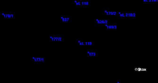 Parcela st. 119 v k.ú. Davle, Katastrální mapa