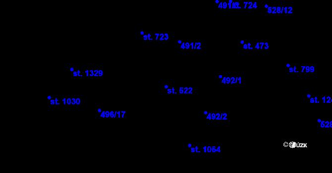 Parcela st. 522 v k.ú. Davle, Katastrální mapa
