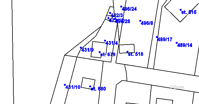 Parcela st. 679 v k.ú. Davle, Katastrální mapa