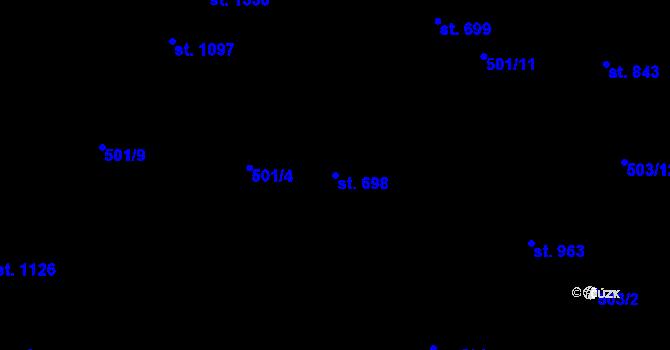 Parcela st. 698 v k.ú. Davle, Katastrální mapa
