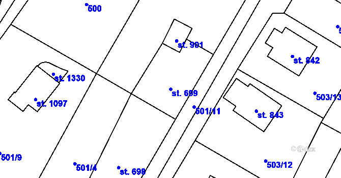 Parcela st. 699 v k.ú. Davle, Katastrální mapa