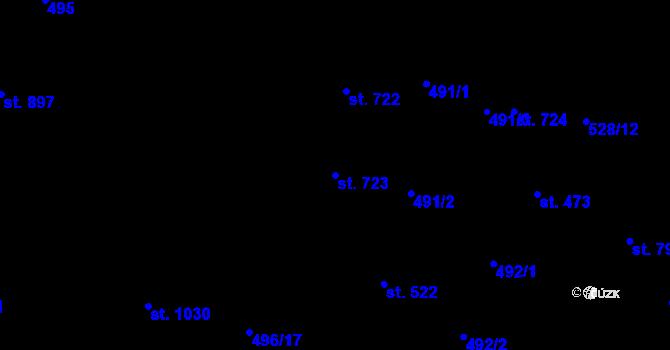 Parcela st. 723 v k.ú. Davle, Katastrální mapa