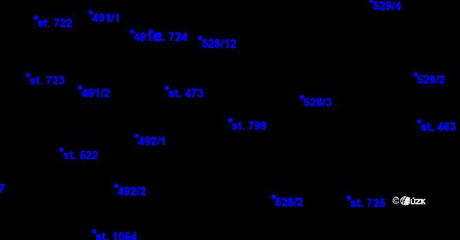 Parcela st. 799 v k.ú. Davle, Katastrální mapa