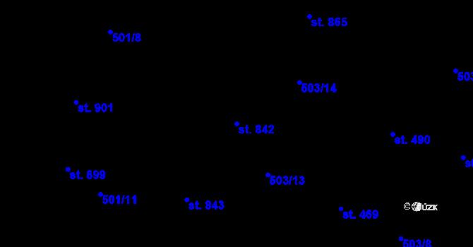 Parcela st. 842 v k.ú. Davle, Katastrální mapa
