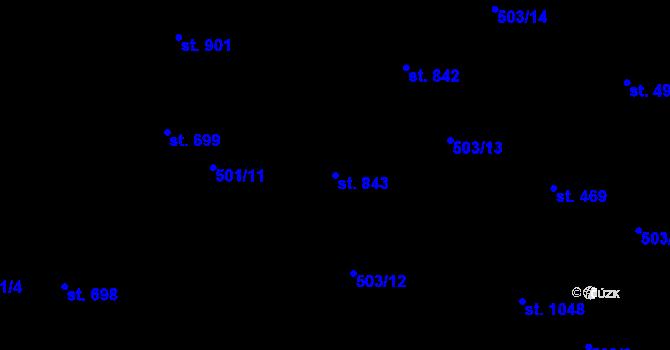 Parcela st. 843 v k.ú. Davle, Katastrální mapa