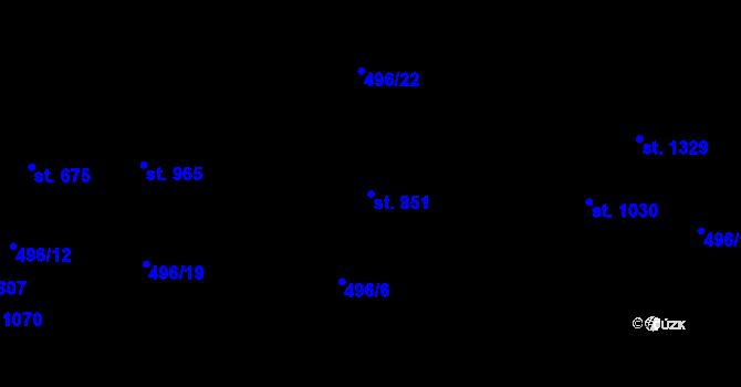 Parcela st. 851 v k.ú. Davle, Katastrální mapa