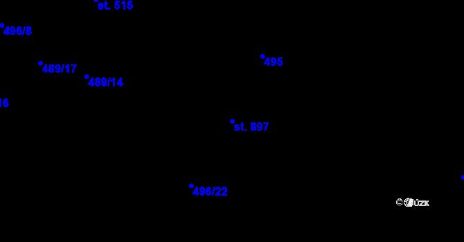 Parcela st. 897 v k.ú. Davle, Katastrální mapa