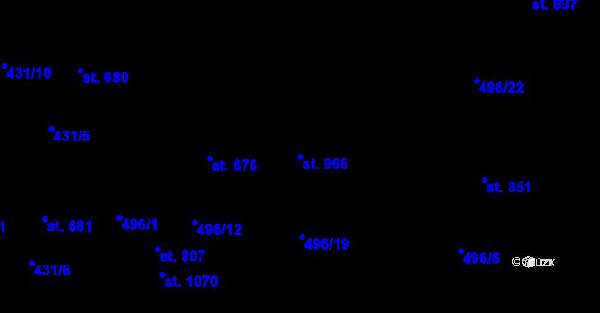 Parcela st. 965 v k.ú. Davle, Katastrální mapa