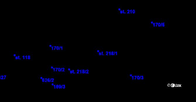 Parcela st. 218/1 v k.ú. Davle, Katastrální mapa