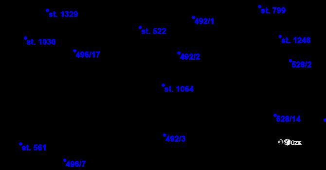 Parcela st. 1064 v k.ú. Davle, Katastrální mapa