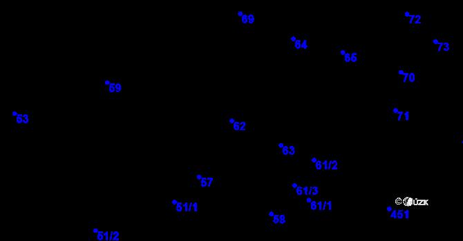 Parcela st. 62 v k.ú. Děhylov, Katastrální mapa