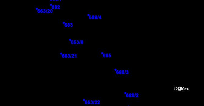 Parcela st. 685 v k.ú. Děhylov, Katastrální mapa