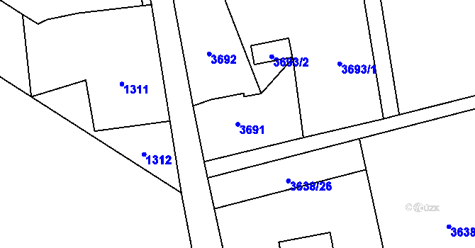 Parcela st. 3691 v k.ú. Dolní Lutyně, Katastrální mapa