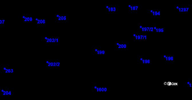 Parcela st. 199 v k.ú. Dolní Počernice, Katastrální mapa