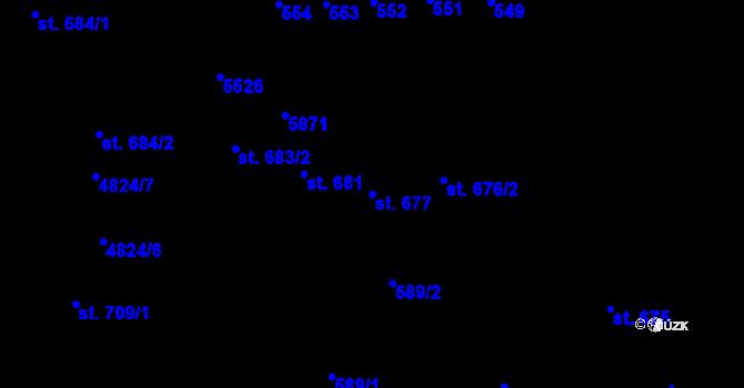 Parcela st. 677 v k.ú. Domažlice, Katastrální mapa