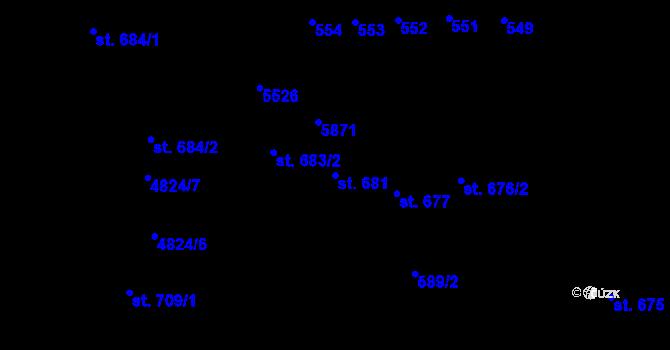 Parcela st. 681 v k.ú. Domažlice, Katastrální mapa
