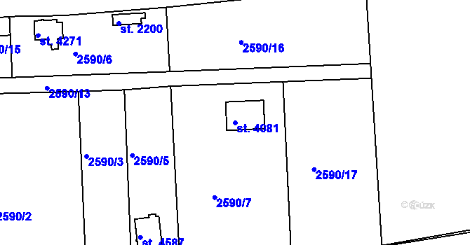 Parcela st. 4081 v k.ú. Domažlice, Katastrální mapa