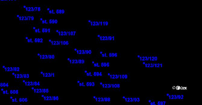 Parcela st. 596 v k.ú. Tašovice, Katastrální mapa