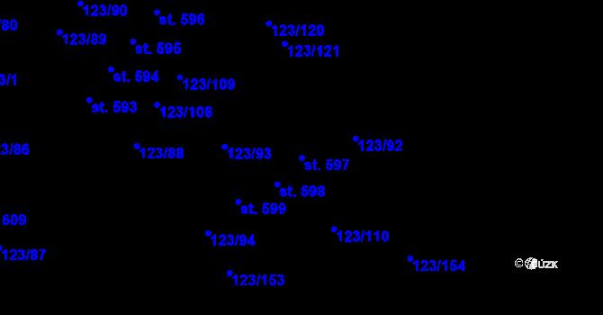 Parcela st. 597 v k.ú. Tašovice, Katastrální mapa