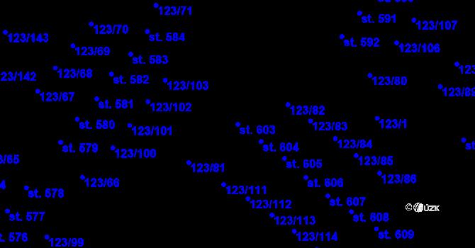Parcela st. 603 v k.ú. Tašovice, Katastrální mapa