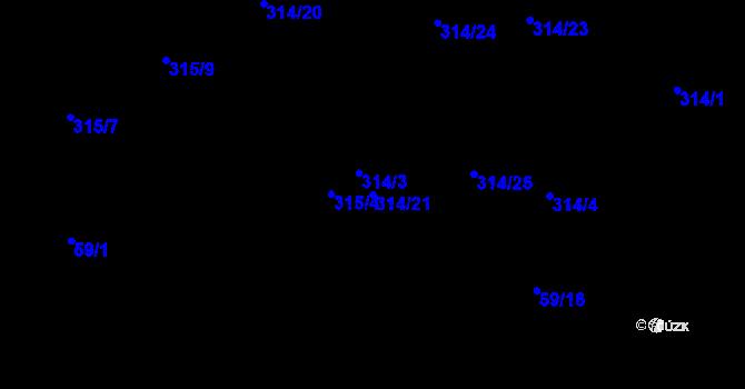 Parcela st. 314/21 v k.ú. Dubno, Katastrální mapa