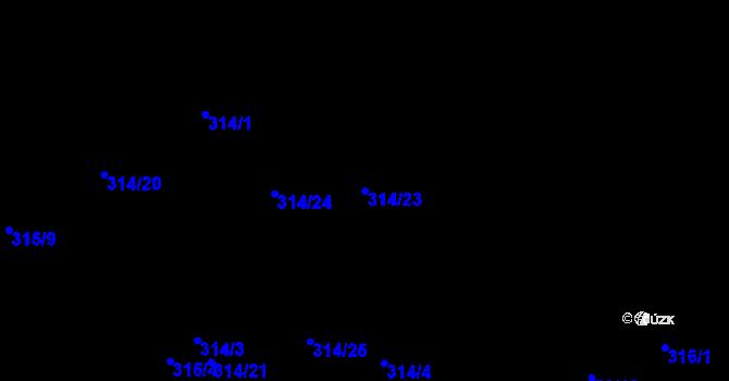 Parcela st. 314/23 v k.ú. Dubno, Katastrální mapa